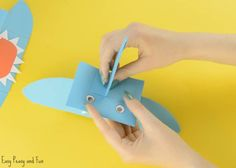 Shark Paper Hand Puppet - Easy Peasy and Fun Toddler Crafts, Crafts For Kids, Shark Puppet, Make Your Own, How To Make, Hand Puppets, Shark Week, Baby Shark, Paper Toys