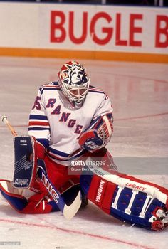 goalie-mike-richter-of-the-new-york-rangers-makes-the-save-during-an-picture-id482863798 (690×1024) Goalie Gear, Goalie Mask, New York Rangers, Bruce Bennett, Rangers Hockey, Field Hockey, National Hockey League, Hockey Players, Ice Hockey