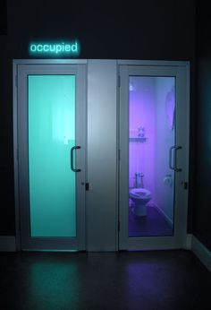 The bathrooms with clear doors that become opaque when the door is locked.--Like to have this in our bedroom suite.