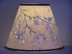 Pine cone & Chickadee Lamp Shade by BarbaraGailsLamps on Etsy