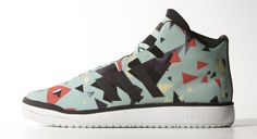 """Playfully flat, colorful, and geometric late 80's graphics come together to adorn the adidas Originals Veritas Mid """"Print"""" Pack."""