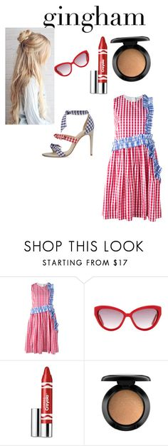 """Red and blue"" by doraruby ❤ liked on Polyvore featuring MSGM, Alexandre Birman, Moschino, Clinique and MAC Cosmetics"