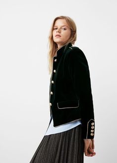 Trims velvet jacket - Jackets for Women Band Jacket, Mango France, Military Style Jackets, 2000s Fashion, Velvet Jacket, Fall Trends, Looks Style, Military Fashion, Mode Style