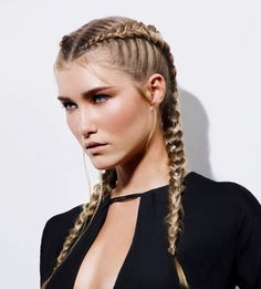 To decline its classic African braid, you can test a multitude of different hairstyles. For example, one can dare the hairstyle with two African braids [. French Braid Hairstyles, African Braids Hairstyles, Summer Hairstyles, Girl Hairstyles, Amazing Hairstyles, Curly Hair Updo, Curly Hair Styles, Afro, Double French Braids