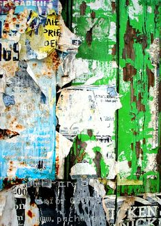 green boards and ripped posters Kingsland Road, Old Wall, Level 3, Distortion, Destruction, Art Forms, Mood Boards, Collage Art, Cool Art