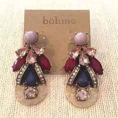 Gorgeous Fall Statement Earrings These earrings are stunning! These a hammered bronze / gold earrings with pave gems, navy blue gems, maroon red gems, pink crystal gems and gray beads. Such cute dange statement earrings! Jewelry Earrings