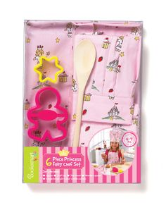 Chef Set - 6 Piece - Princess Fairy from KitchenRules - A brilliant chef set to start children in the kitchen. With the apron and hat made from 100% cotton, the set comprises an apron, chefs hat, tea towel, wooden spoon, gingerbread girl and star cookie cutters. Recommended for children of 4 - 7 years of age.  Apron (approx. size: 45 x 60cm)  Chef Hat (adjustable to fit)  Tea Towel (approx. size: 38 x 63cm)(80% Cotton, 20% Polyester)