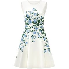 Rental ERIN erin fetherston White Floral Suzie Dress (£46) ❤ liked on Polyvore featuring dresses, vestidos, floral pattern dress, white full skirt dress, white dress, floral printed dress and white flower print dress