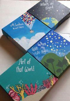 New disney art diy house ideas Cute Canvas Paintings, Small Canvas Art, Mini Canvas Art, Canvas Painting Quotes, Paintings With Quotes, Canvas Size, Painting Canvas Crafts, Canvas Art Projects, Small Paintings