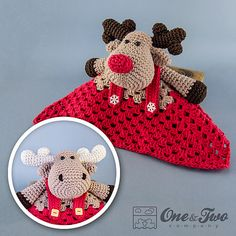 Ravelry: Reindeer and Moose Security Blanket pattern by Carolina Guzman.