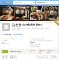 Foursquare は実際にそのスポットを訪れたお客様から報告されたもので、もっと多くの営業マンに営業していただけるようにビジネスの詳細情報を見ることができ、電話したり、営業するために住所を検索することもできます。ビジネスの詳細 営業時間 ウェブサイト ソーシャルメディアのリンク(Facebook、Twitter)  メニュー(食品やサービス)  詳細(支払いオプション、Wifi、デリバリーなど)