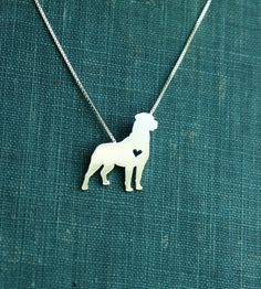 #Rottweiler necklace sterling silver hand cut by JustPlainSimple