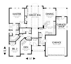 Vaulted Great Room Plan with Light. Plan 1149 The Hayword is a 1728 SqFt Cottage, Craftsman, Ranch style home plan featuring Den, Den/Bedroom, and Shop by Alan Mascord Design Associates. View our entire house plan collection on Houseplans.co.