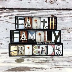 FAITH FAMILY FRIENDS Set of Three Wood by LettersOfLoveDesigns