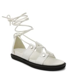Bcbgeneration Footbed Lace Up Sandal. With silver-tone hardware, these BareTraps sandals feature an ankle wrap design complete with a flexible outsole and memory foam insole. Lace Up Sandals, Flat Sandals, Flip Flop Sandals, Shoes Sandals, Flats, Flat Shoes, Shoes Photo, Bcbgeneration, Ankle