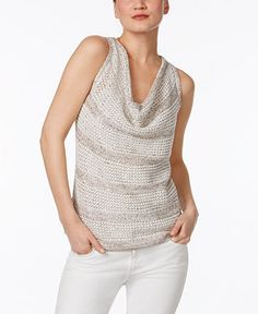 INC International Concepts Embellished Cowl-Neck Sweater, Only at Macy's - Sweaters - Women - Macy's