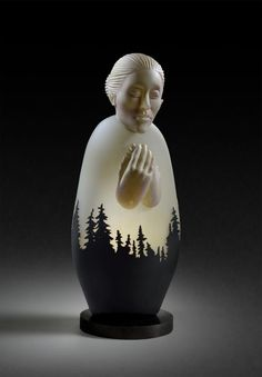 """made by: Ross Richmond , 'In the shadow of the mountains' - Dimensions: Width :7"""" x Height :17.5"""" x Depth : 5"""" in. - Material : Glass, 2016"""