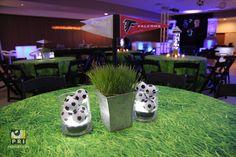 small soccer centerpiece for a sports themed bar mitzvah / bat mitzvah