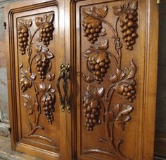 24.21 in ART DECO NOUVEAU 2 Antique French Bronze Fruit Walnut Carved Wood Panel…