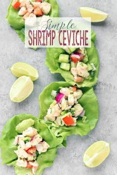 Traditional Shrimp Ceviche is cooked by an acidic marinade, this Simple Shrimp Ceviche uses pre-cooked shrimp. Shrimp, lime-juice, avocado, cilantro pair together to create the perfect fresh appetizer or side dish. via Sissom Healthy Lunches For Work, Healthy Meal Prep, Healthy Snacks, Healthy Recipes, Work Lunches, Whole30 Recipes, Healthy Eats, Shrimp Appetizers, Appetizer Recipes