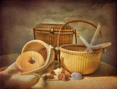 Nantucket basket still life- would be a challenging project just getting the pattern on the baskets right