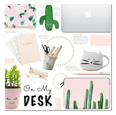 """""""Cactus Love ~On My Desk"""" by meleuterio ❤ liked on Polyvore featuring interior, interiors, interior design, home, home decor, interior decorating, Casetify, Faber-Castell, New Look and ESSEY"""