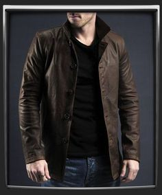 Mens Brown Leather Jacket, Men's Coat, Real Leather Coat worn by the character Dean Winchester in the television series Supernatural.