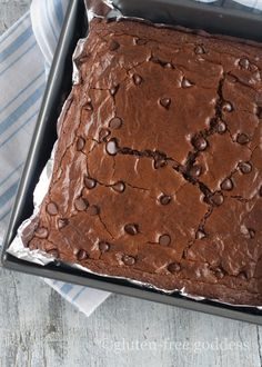 Gluten-free dark chocolate brownies - rich and fudgy.
