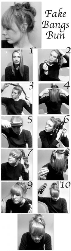 Fake Bangs Bun it's so cool!