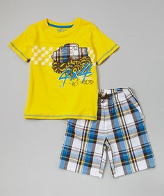 Loving this Yellow 'Hot Rod' Tee & Plaid Shorts - Infant, Toddler & Boys on #zulily! #zulilyfinds