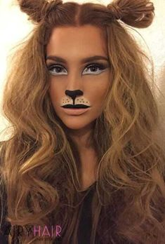 Cute lion makeup for beautiful girl.You can find Lion halloween makeup and more on our website.Cute lion makeup for beautiful girl. Lion Halloween Costume, Lion King Costume, Cute Halloween Makeup, Halloween Makeup Looks, Scary Halloween, Diy Lion Costume, Lion Costumes, Jungle Costume, Deer Costume