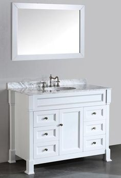 Bosconi SB-278WH (single) 43.5-Inch White Transitional Bathroom Vanity Set