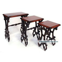 Ticino Nesting Tables Black Hand Finished Martelle New Mid-Century Modernism photo