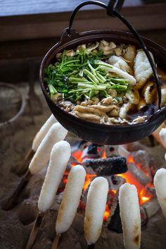 Miso-glazed grilled rice sticks (miso kiritanpo)