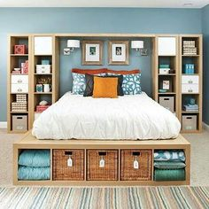Build this organized bedroom yourself using economical bookcases found at many economy stores.