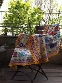 crochet blanket granny square - colourful. , via Etsy.