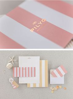 gold foil. pink and white, yellow and white stripe - love love love this stationary