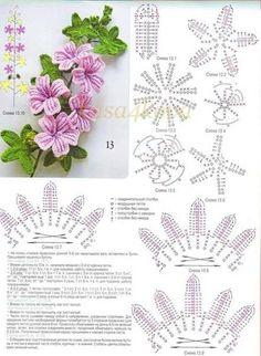 crocheted flower tutorial - google translate good as of 3/4/15