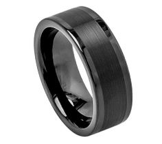 Tungsten Carbide with Brushed Finish in Black and Polished Ends