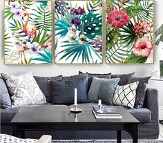 Wall Decor Pictures, Decorating With Pictures, Living Room Pictures, Flamingo Rosa, Flamingo Art, Home Office, Forest Flowers, Watercolor Plants, Leaf Wall Art