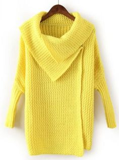 Yellow Lapel Batwing Sleeve Knit Cardigan - Sheinside.com