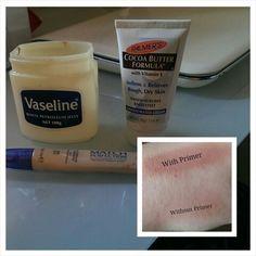 DIY eyeshadow primer: half teaspoon body butter, half teaspoon foundation or concealer and quater teaspoon of Vaseline.