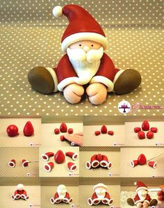 Fondant Santa tutorial - For all your Christmas cake decorat.- Fondant Santa tutorial – For all your Christmas cake decorations, please visit w… Fondant Santa tutorial – For all your Christmas cake decorations, please visit www. Christmas Cake Decorations, Fondant Decorations, Fondant Christmas Cake, Christmas Cake Topper, Xmas Cakes, 3d Cakes, Holiday Cakes, Polymer Clay Christmas, Polymer Clay Crafts