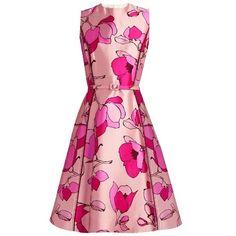 Oscar De La Renta Floral-print silk-mikado midi dress ($2,290) ❤ liked on Polyvore featuring dresses, light pink, fit and flare dress, floral dresses, pink silk dress, silk dress and pink fit-and-flare dresses