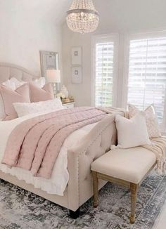 Depending on the particular preferences of its designer, a bedroom can be many different things—a cozy, pillow-filled retreat that beckons […] Girl Bedroom Designs, Room Ideas Bedroom, Home Decor Bedroom, Bed Room, Dream Rooms, Dream Bedroom, Pink Master Bedroom, Pink Bedrooms, Pretty Bedroom