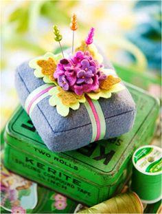Free patterns: Spring Violets pincushion · Needlework News | CraftGossip.com