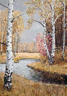 Autumn Landscape with Birch Tree   World Wide Pressed Flower Guild