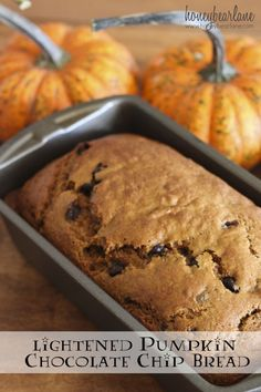 Lightened Pumpkin Chocolate Chip Bread recipe - this is one of my fave treats to have after dinner! It's like cake but healthy, definitely one of my favorite desserts!