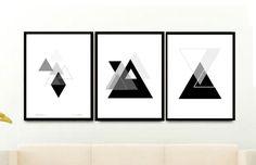 Triptych Geometric Art Print Printable Art by honeytreeprints