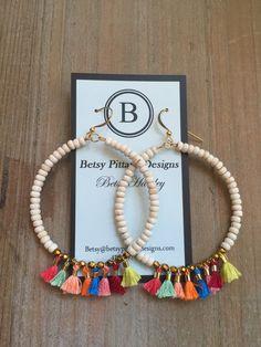 Betsy Pittard Cream Tassel Earrings
